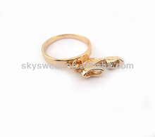 2013 New Fashion Shoe Ring, Gold Plated Alloy Ring, Diamond Ring Jewelry(SWTWTR144)