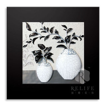 Embossed flower in vase art painting home decoration hot sale in 2012