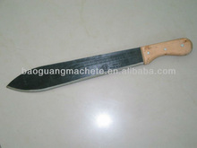 Black-painted 16'' sugarcane short machete M212 with wooden handle and short grooves