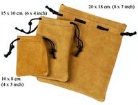 brown velvet suede pouch