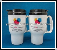 plastic frosted mug with handle with straw mug with handling