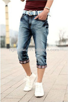 High Fashion Moustache Effect knee Length Dress Blue Jeans
