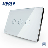 Livolo White Glass Touch control Light Switch 3gang 1way, Dimmer Switch VL-C303D-81