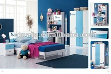 2013 new design kid bedroom set is made by E1 MDF board with painting