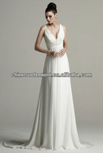 Hot Sale High Quality Deep V-neck Beaded Sheath Wedding Gown Dress 2013