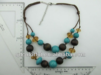 YN5210 thick jewel beads pendant scarf necklace