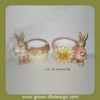Easter bunny decorated terracotta animal planters