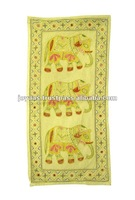 Golden Embroidered Designer Handmade Indian Cotton Wall Hanging