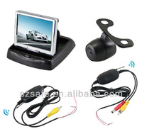 dual video input wireless fold LCD car monitor with butterfly camera