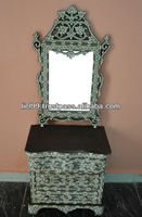 Syrian Mother of Pearl Inlay Chest of Drawers Dresser with Wood Mirror Frame
