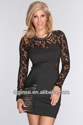 Black Mesh Knitted Detailing Sexy Party Dress
