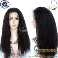 #2 Kinky straight lace front wigs indian remy for white women
