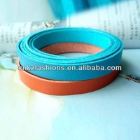 good quality 10mm wide orange and blue vintage microfabric leather strap,basket leather straps,raw leather strap
