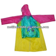 Cheap Kids Dolphin design pvc long raincoat