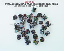Special design murano style mellifiori mix glass beads all different size farnace big hole