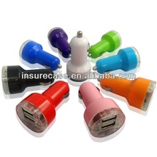 Best seller Multi-color 2.1A Dual USB Car Charger adapter for iPhone/iPad