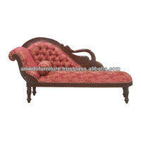 Mahogany Classic Swan Chaise Lounge with Upholstered