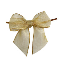 metallic gift bow for festival decoration gift packing /fancy organza gift bows/wholesale gold stipe sheer ribbon gift bows