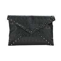 7591 Women New Fashion Black Skulls Print Rivet Shoulder Bag, Day Clutches, Handbags, Message Bags