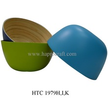 Coiled bamboo bowl in Vietnam / Lacquered bamboo kitchenware (HTC 1979H,I,K)