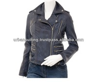 ladies sheep leather fashion and biker wax and washed jacket