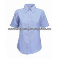 High quality new designs Lady's dress shirts short sleeve slim fit