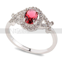 Hot sale wholesale jewelry lot womens rings Platinum Wedding Dainty Red zircon Lady Ring