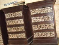 Indian wooden antique beautiful 4 drawer tribal almirah