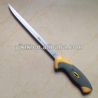 "Hot sell 8"" Rubber Handle Fixed Titanium Blade Fillet Knife / Fishing Knife"