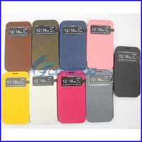 2014 Flip Leather Case Cover for Samsung Galaxy S4 SIV / i9500 with Smart Pocket Caller ID & Sleep / Wake-up Function