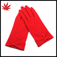 Women Simplex Beading Cuff Red Wool Knitted Glove