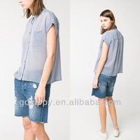 Striped Chiffon Blouses With Shirt Collar Short Sleeves Lady Women Fashion Blouses Shirt Designs 2014