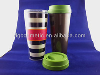 Bpa Free Insulate Promotion Double Layer Plastic Cup With Straw