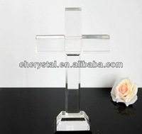 crystal cross sculpture in religious crafts,personalized clear religious crystal cross standing, MH-15053