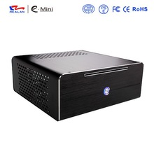 Realan aluminum mini itx desktop pc case E-i7 with power supply, CD-ROM, slots, black silver