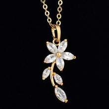 flower pendant necklace fashion jewelry costume jewelry with white zircon pendant(AM-D405)