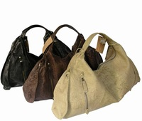 2016 Fashion Hobo Style Brown 100% Genuine Leather Handbag Wholesale Made in Guangzhou