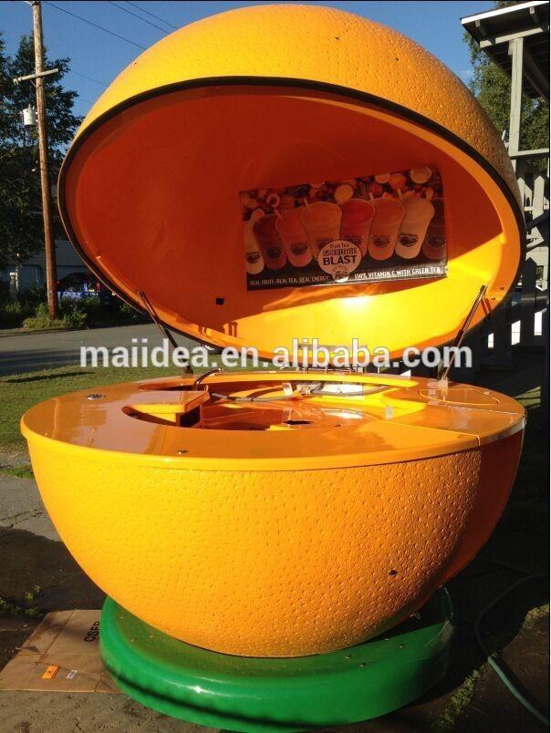 Mobile fiber glass outdoor fruit orange juice bar kiosk for Food bar orange