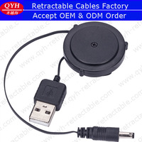 Retractable Audio Cable with 3.5 mm * 1.1 mm DC plug to USB connector