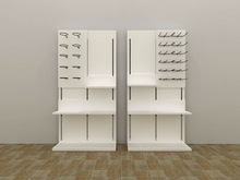 Retail clothes shop wood display shelving with metal hook
