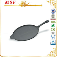 10.5 inch plant oil coating cast iron steak pan/cast iron grill pan/cast iron pizza pan