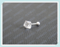 Fashion zircon crystal earring stud with stainless steel ball stopper