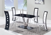 V-shape stainless base dining room table with tempered glass