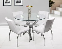 modern 4 seater round shaped dining table with tempered glass and chrome leg