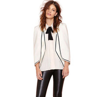 2015 New Unique Design Women White Cloak Style Jacket Blazer with Black Streak Patchwork for wholesale haoduoyi