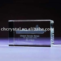 religious 3d laser ship model crystal glass cube for gifts MH-4017