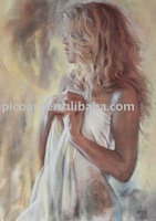 beautiful girl nude oil painting on canvas ,stretched oil painting