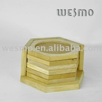Bamboo glass cup coaster set