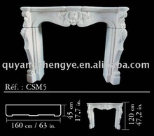 White marble design fireplace mantel