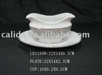 LD11508 china wholesale hotel restaurant kitchen customized buffet ceramic milk pot ,ceramic milk jar with oval plate
